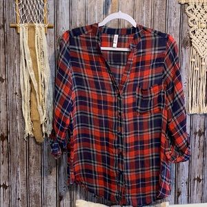 Ladies Sheer red and blue plaid button up shirt